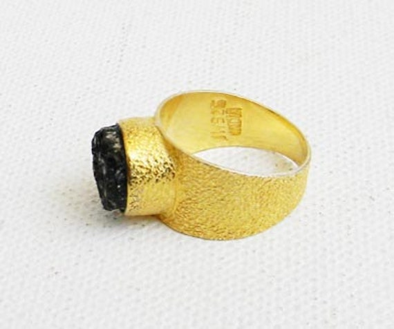 Vintage Gold Dipped Sterling Silver Ring with Onyx Druzy INDIA