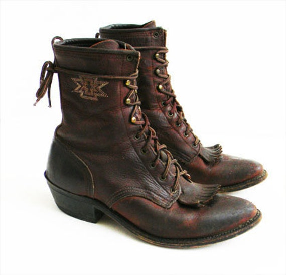 Vintage Leather Justin ARIAT Kiltie Boot 8