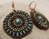 Brick Stitch Earrings In Peacock
