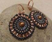 Brick Stitch Earrings In Copper and Blue