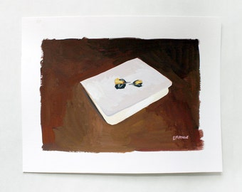 SALE! small original art - gouache painting - The Wedding card