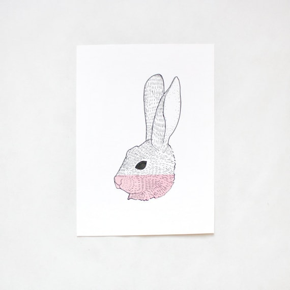 rabbit drawing - Cottontail Rabbit - original illustration