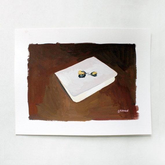 SALE! small original art - gouache painting - The Wedding card