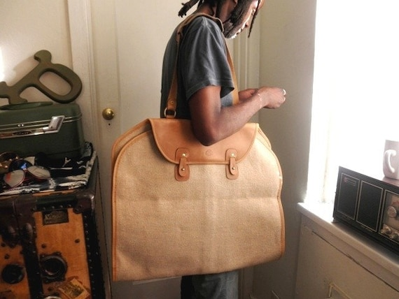 Vintage Linen and Leather Garment Bag