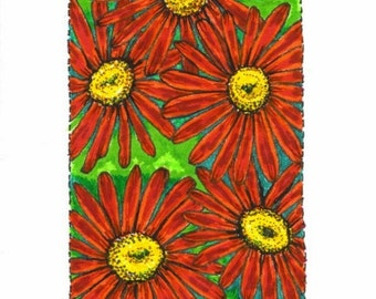 Red Painted Daisy ACEO