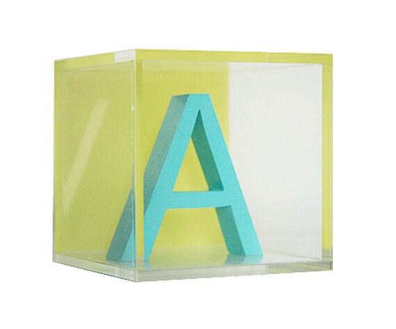 Custom Modern Letter Blocks: Aqua Blue Letter/Lime Green Background