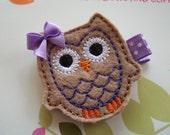 Spring Easter Tan Purple Felt OWL HAIR CLIP