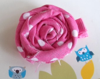 PINK WHITE Frayed Fabric Rosette Flower Clip Babies, Toddlers, Girls, Women