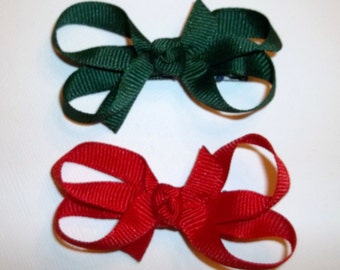 Itty Bitty Baby Bows CHRISTMAS RED GREEN Holidays Babies - Toddlers - Girls