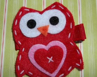 Red Pink VALENTINE OWL Hair Clip Babies, Toddlers, Girls
