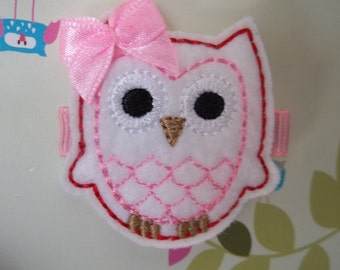 White Pink Red VALENTINE Felt OWL Hair Clip Baby Toddlers Girls