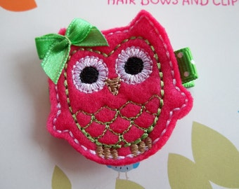 FUSCHIA and LIME Felt OWL Hair Clip Baby Toddlers Girls