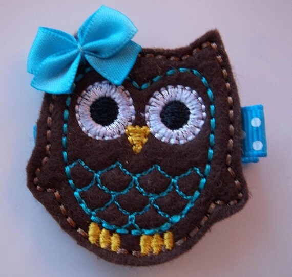 BROWN and TURQUOISE Felt OWL Hair Clip Baby Toddlers Girls