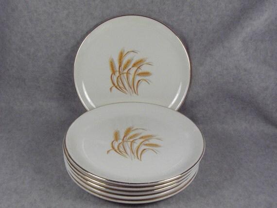 Set of 6 Dessert Plates, Golden Wheat by Homer Laughlin