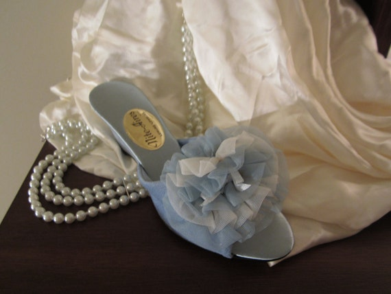 Satin Slippers, Vintage, Blue, Made by Nite Aires Leisure Lovlies 1960s circa. Never worn.