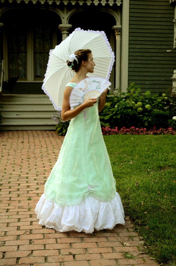 Victorian Evening Gown, pale green with lavender accents.