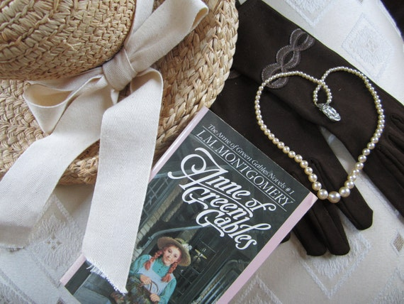Anne of Green Gables Tea Party Set: hat, gloves, & necklace, An Avonlea Tea Party Collection