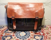 Vintage Columbian Leather Satchel Large Messenger Bag made in COLUMBIA Briefcase Carry on