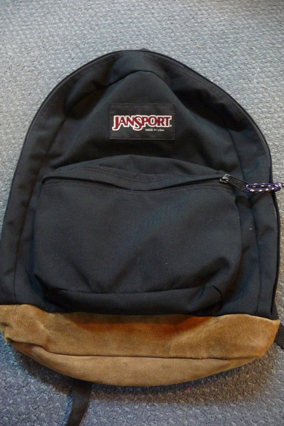 Vintage Backpack with Leather bottom black JANSPORT USA