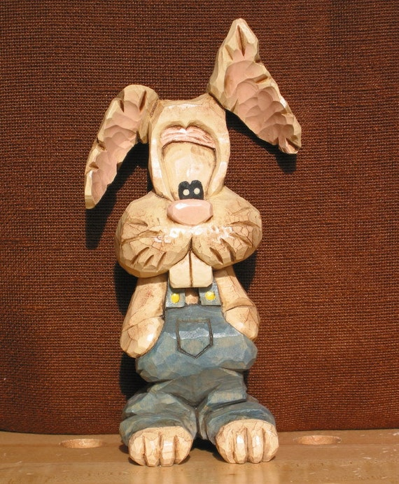 Caricature Bunny RABBIT Wood CARVING in Bib Overalls, Easter Holiday, Fun Spring Home Decor