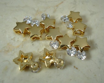 F-46. 2pcs, Gold Plated CZ Star Beads