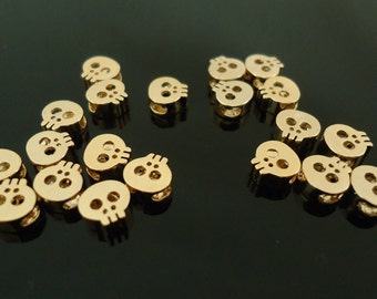 F-34. 2pcs, Gold Plated Skull Beads