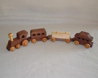 Handmade Wooden Walnut Train