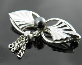 Vintage Wells Sterling Victorian Style Bow With Tassle Pin Brooch