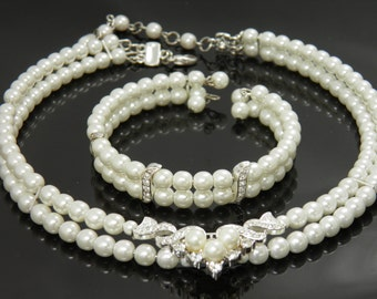 Elegant Faux Pearls And Rhinestones Choker Necklace And Bracelet