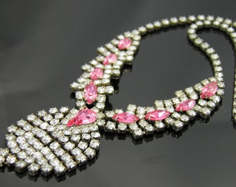 Vintage Pink Rhinestone Runway Bib Style Necklace