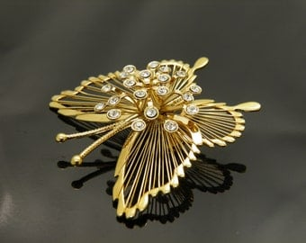 Elegant Vintage Monet Goldtone Wire Butterfly with Rhinestones Brooch Pin
