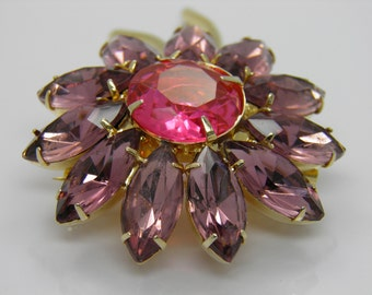 Vintage Showstopping Lavender And Pink Rhinestone Floral Brooch Pin In A Goldtone Setting