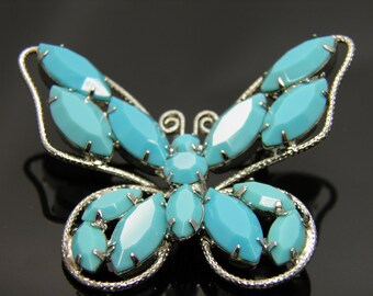 Vintage Beautifully Crafted Juliana Style Blue Turquoise Rhinestone Butterfly Brooch Pin
