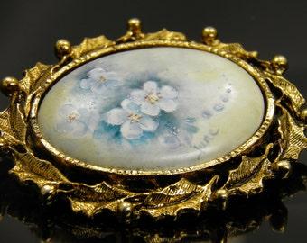 Vintage Hand Painted Signed Porcelain Floral Brooch Pin of Dogwood Flowers