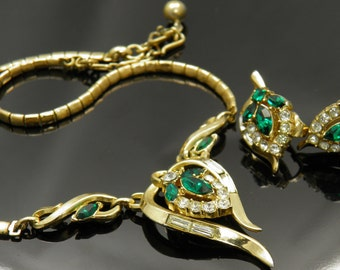 Vintage Crown Trifari  Necklace And Earrings Demi Set Designed By Alfred Philippe 1953