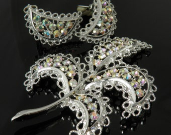 "Vintage Emmons ""Shimmering Lace"" Leaf And Crescent Shaped Brooch And Clip Earrings In AB Rhinestones"
