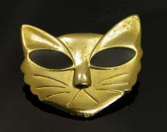 Vintage Hypnotic Alien Cat Pin Brooch With Large Black Eyes In Goldtone Setting