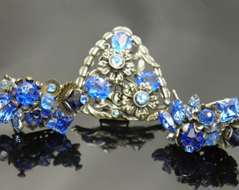 Rare Eugene Demi Parure Of Hand Crafted Earrings And Dress Clip Brooch Pin In Stunning Blue Rhinestones