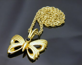 Vintage Sarah Coventry Gold Tone Butterfly Necklace