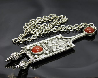 Vintage Accessocraft Huge Etruscan Style Pendant Necklace In Antique Silver Tone