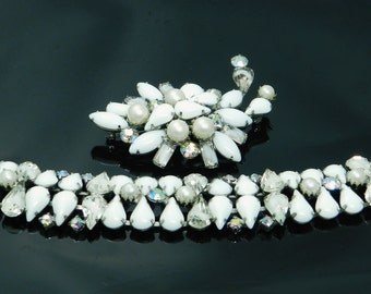 Vintage Bracelet And Brooch Demi Set Of White Milk Glass, Aurora Borealis, Givre Rhinestones And Faux Pearls