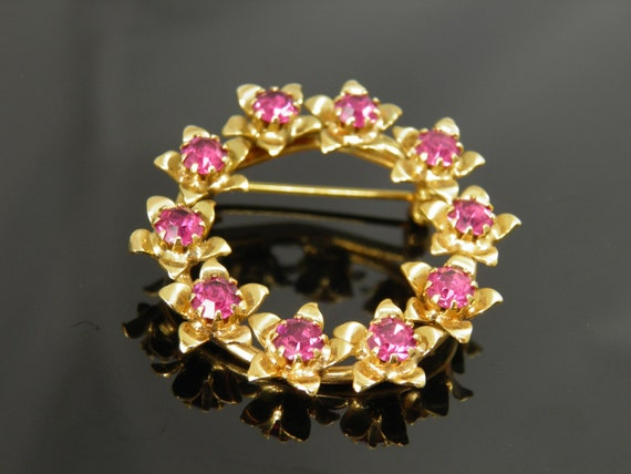Vintage Brushed Gold Brooch Pin With Fushia Pink Colored Rhinestones