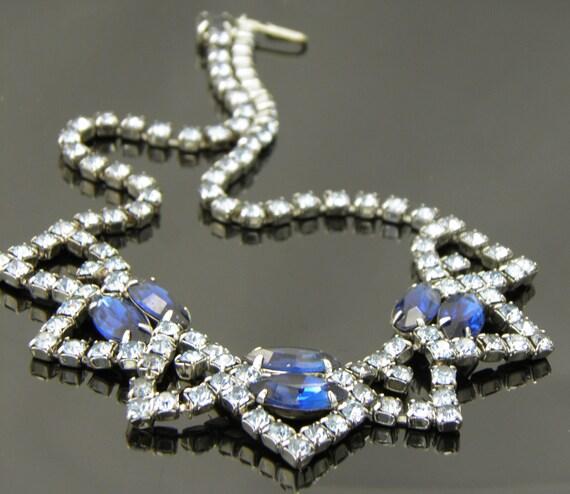 Vintage D&E Juliana Blue Sapphire And Blue Topaz Rhinestone Necklace Choker