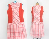 60s Plaid Dress / Peach Coral / Retro Mod / Size Large