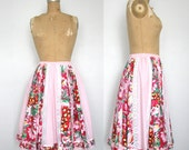 1970s Prairie Skirt / Paneled Patchwork / Boho / Hippie / Folk / Southern Belle / Size Small - Medium