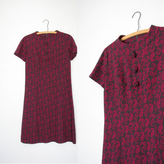 60s Shift Dress / Gray and Fuscia / Electric Paisley Print / Size Large