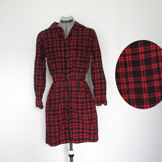 80s Red Flannel Corduroy / Dress / Button Up Front / Long Sleeve / Lumberjack / Size Small - Medium