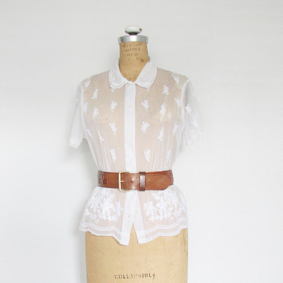 Vintage Sheer Embroidered Top / White Boho Floral / Small - Medium
