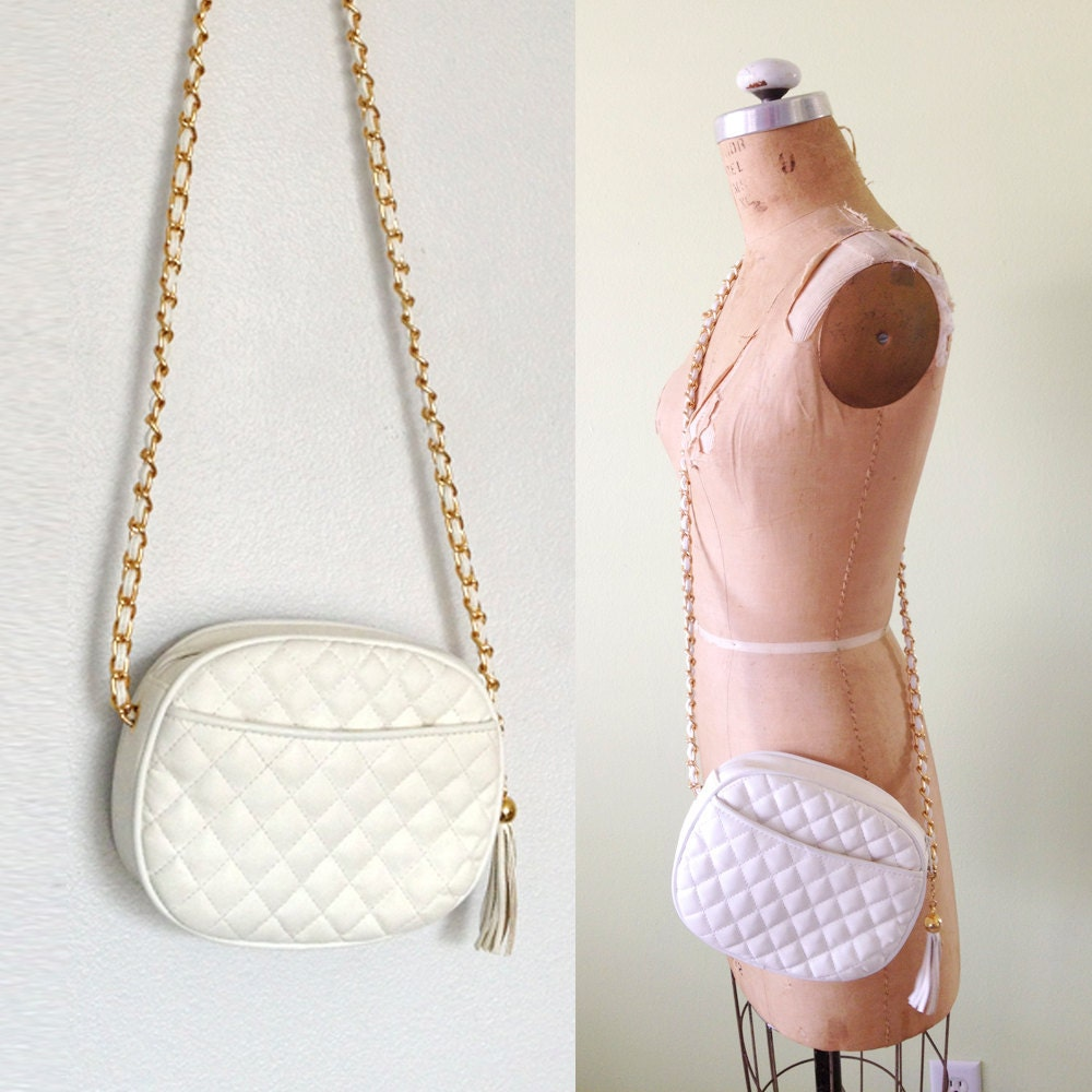 White Leather Quilted Crossbody Bag With Tassle And Chain