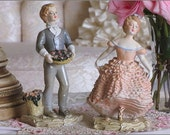 Lovely Boy And Girl FRENCH CHALKWARE FIGURINES